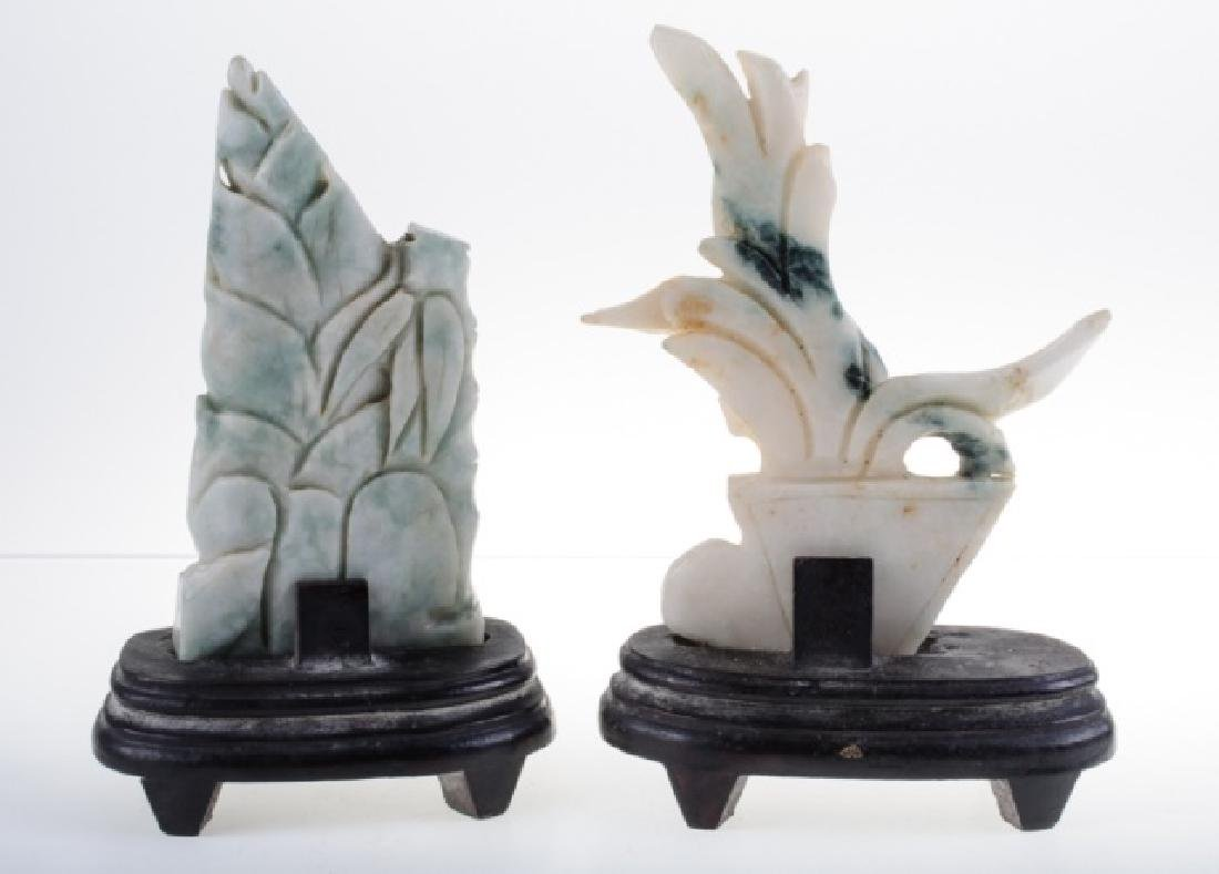 Carved Asian Stone Items on Stands - 5