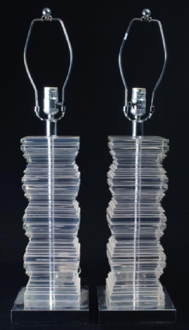 Acrylic Table Lamps Pair