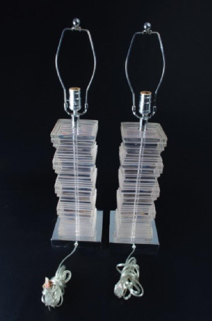 Acrylic Table Lamps Pair - 3