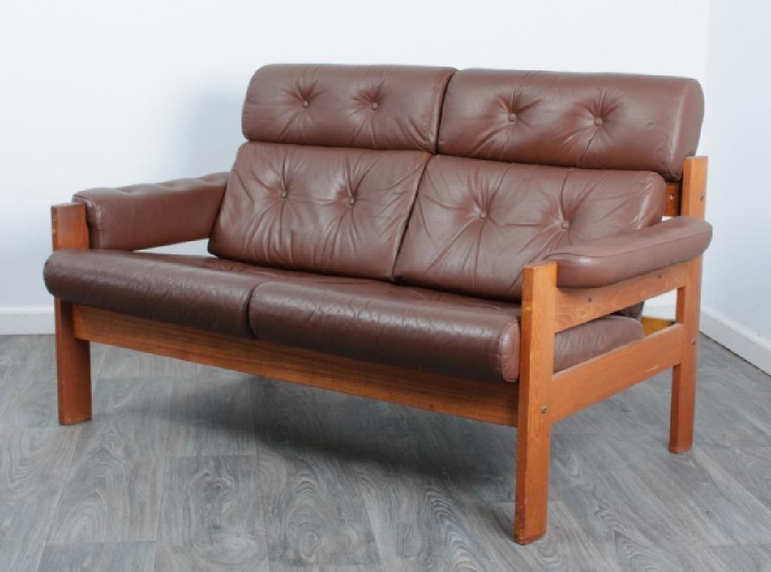 Danish Tufted Leather Loveseat