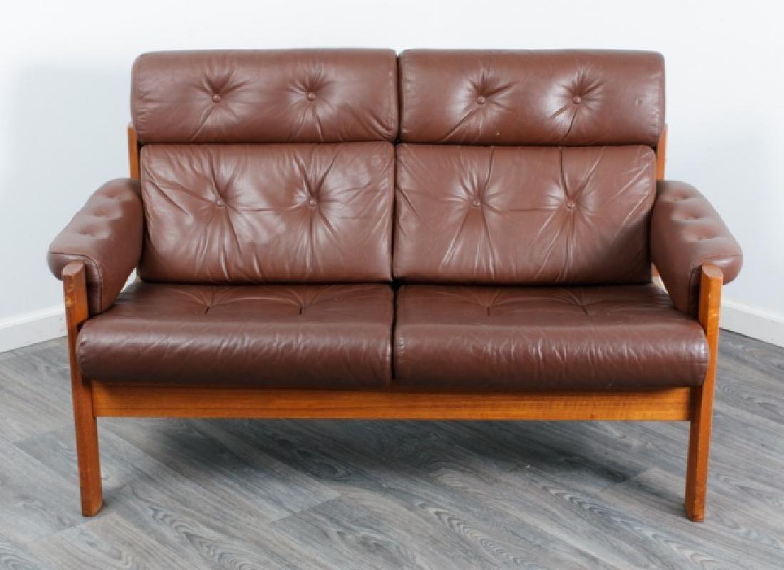 Danish Tufted Leather Loveseat - 2