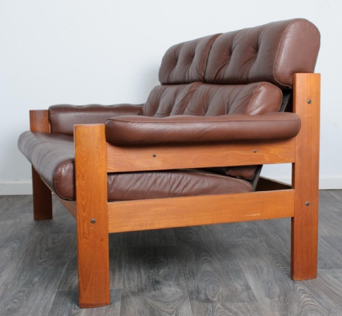 Danish Tufted Leather Loveseat - 3