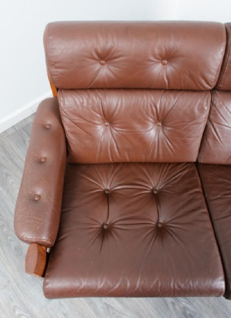 Danish Tufted Leather Loveseat - 7