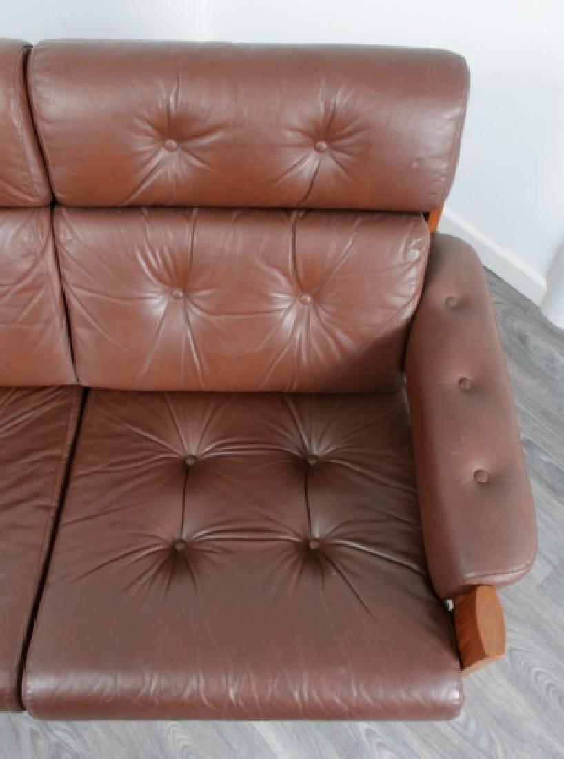 Danish Tufted Leather Loveseat - 8