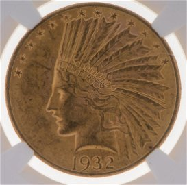 1932 Indian Head $10 Gold Eagle Coin NGC MS-62