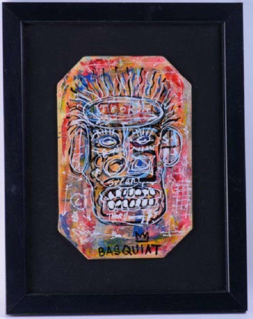 "Jean-Michel Basquiat ""Thor"" Mixed Media On Board"