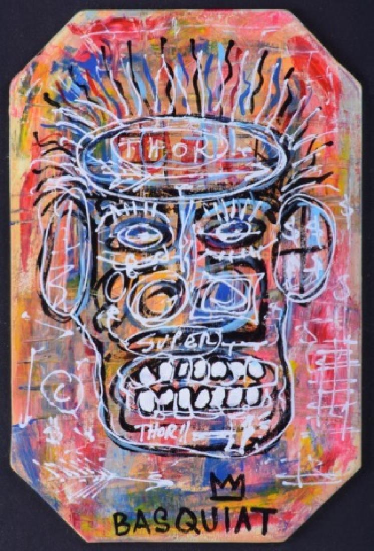 "Jean-Michel Basquiat ""Thor"" Mixed Media On Board - 2"