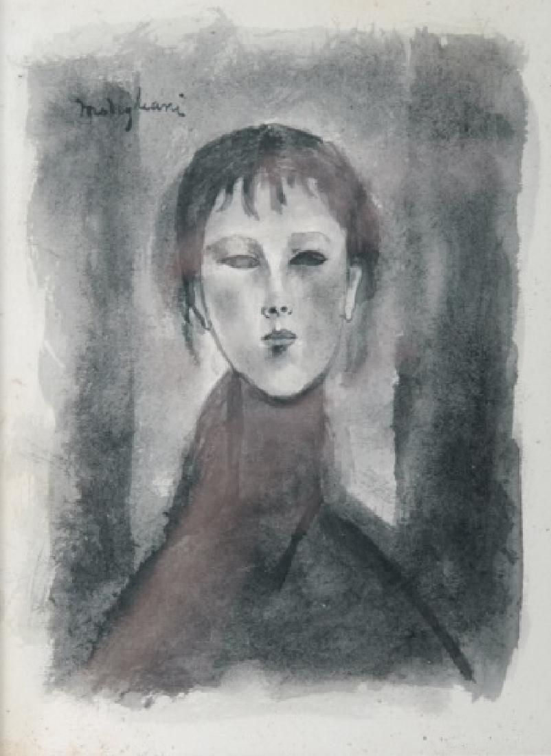 Amedeo Modigliani Attributed Portrait Watercolor - 2