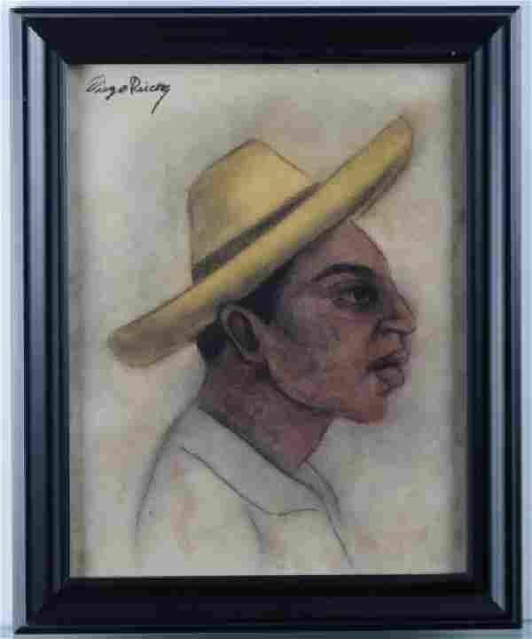 """Diego Rivera """"Retrato Indigena"""" Mixed Media"""