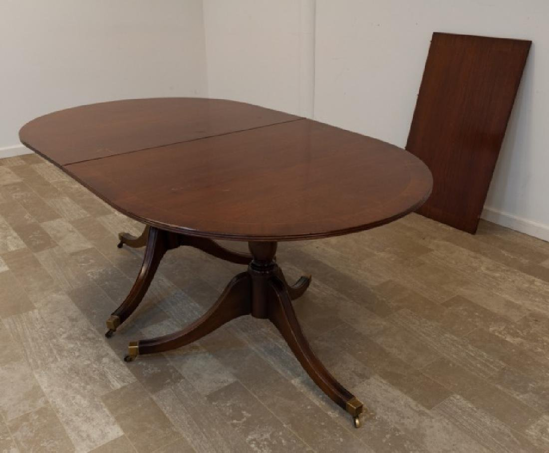Duncan Phyfe Round Table With Drawer.Duncan Phyfe Style Double Pedestal Dining Table