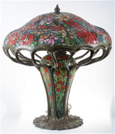 Leaded Glass Zinnia Lamp in the Manner of Tiffany