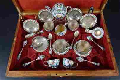 Russian Sterling & Enamel Tea Service For Tiffany