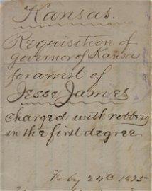 1875 St. of Kansas Arrest Warrant for Jesse James
