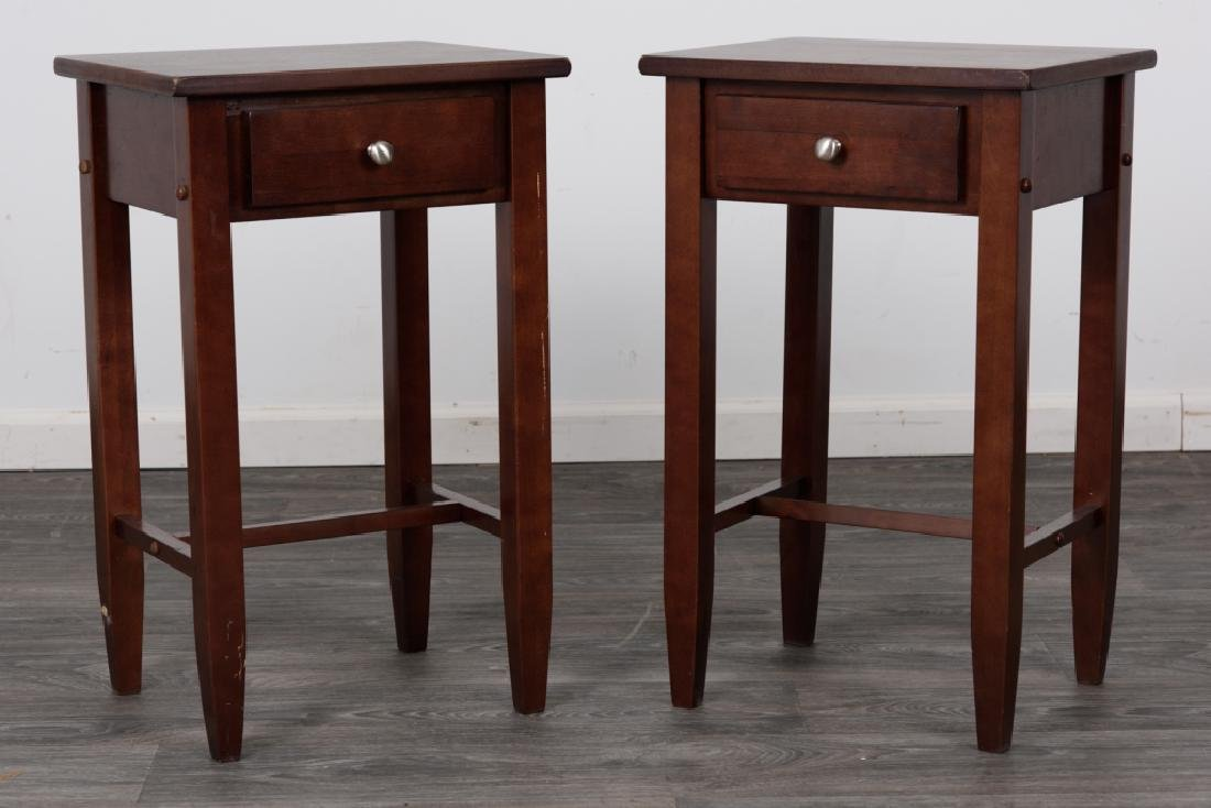 Wood Side Tables Pair