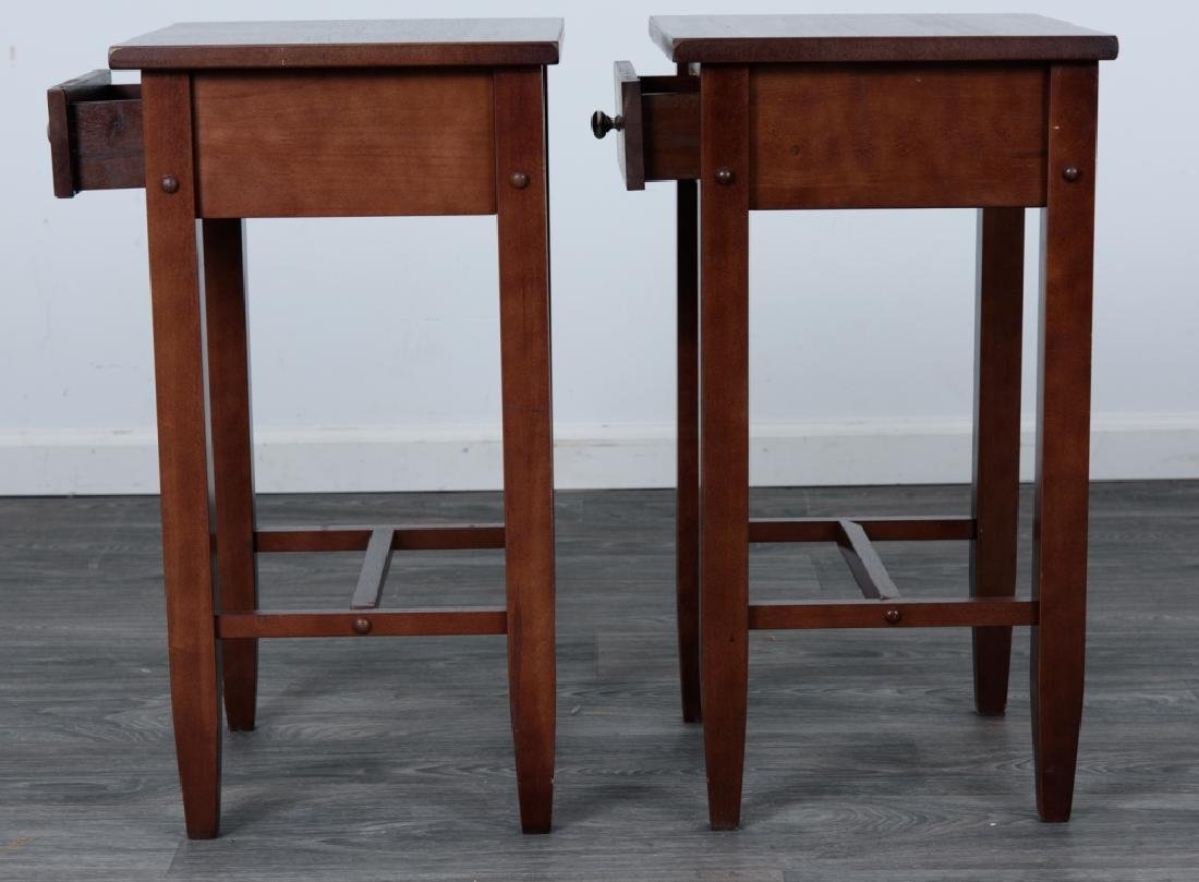 Wood Side Tables Pair - 5