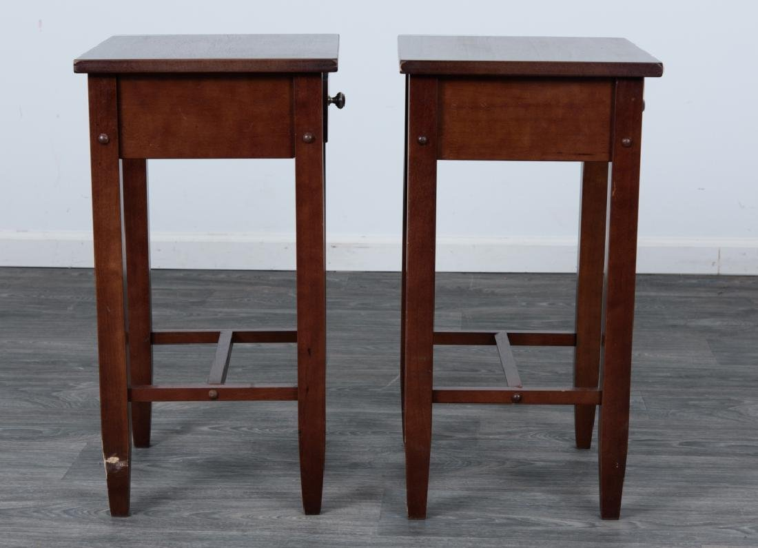 Wood Side Tables Pair - 7