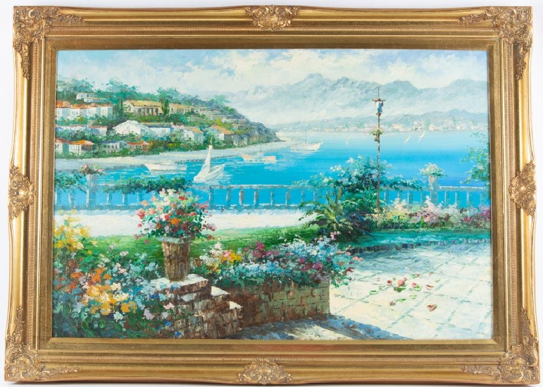 Impressionist Oil on Canvas Tropical Harbor Scene