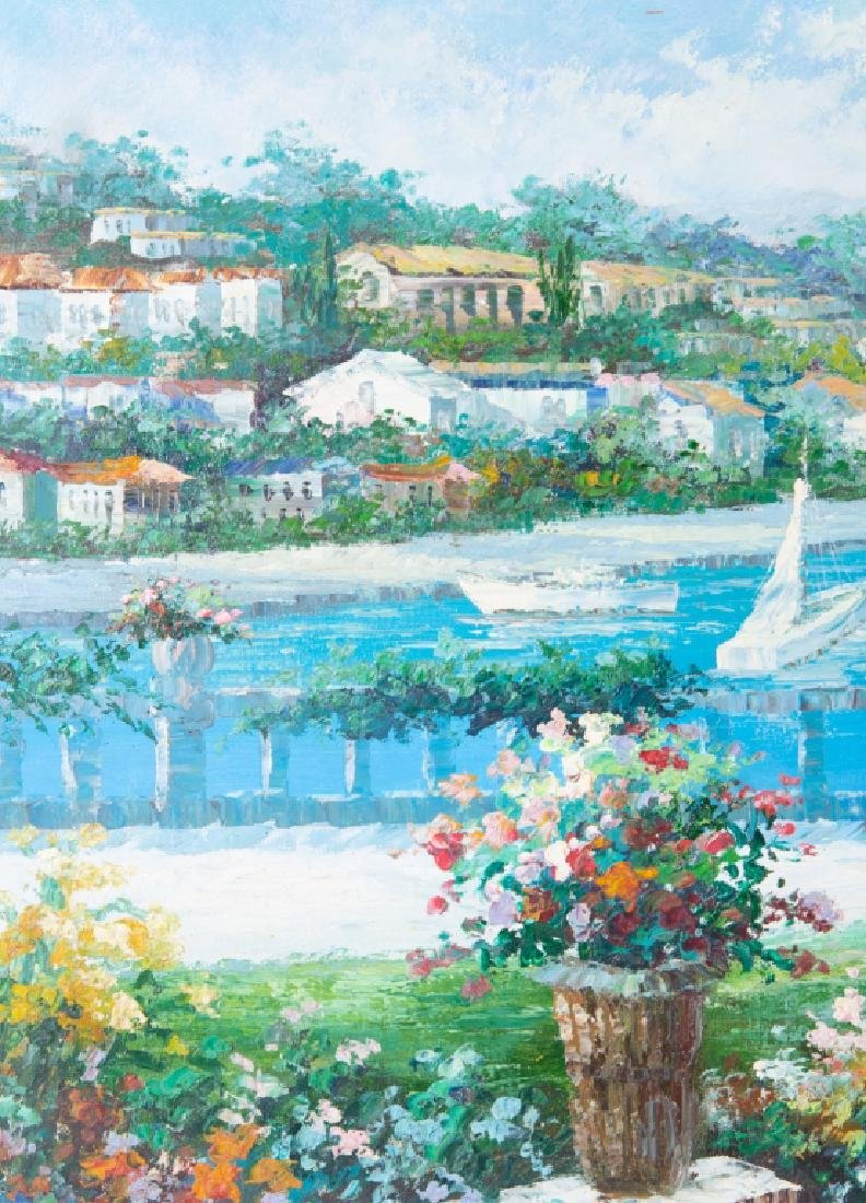 Impressionist Oil on Canvas Tropical Harbor Scene - 2