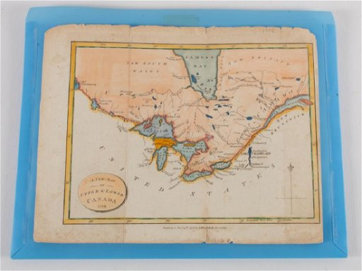 1798 Hand Colored Map of Upper & Lower Canada
