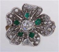 Diamond & Emerald Platinum Dogwood Brooch