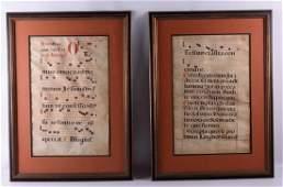 Manuscript Antiphonal Pages on Vellum