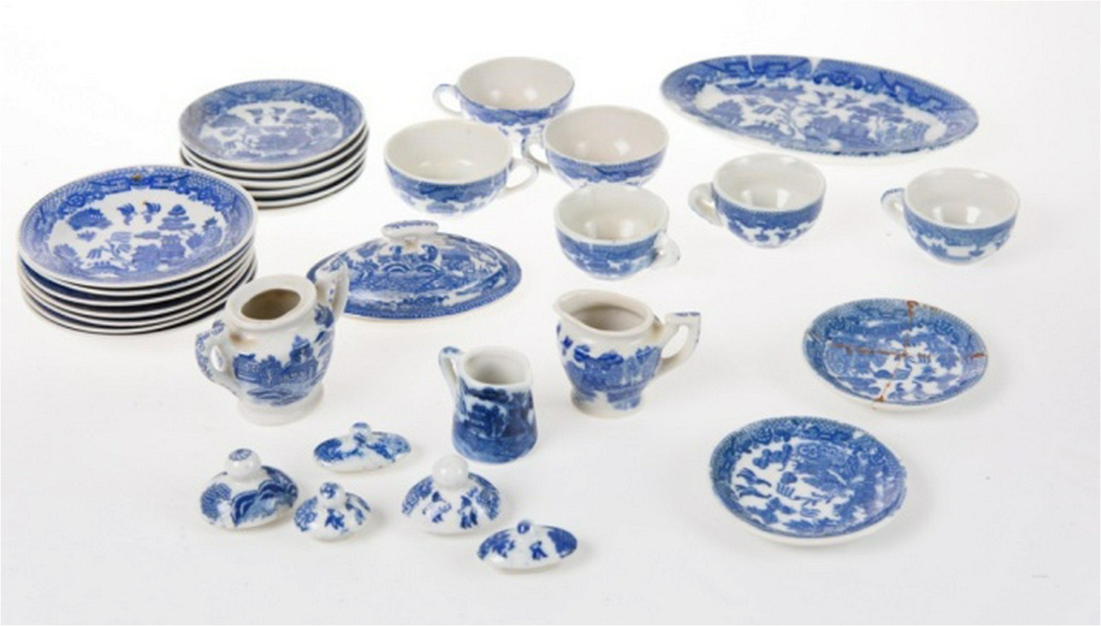 Child's Japanese Blue Willow Tea Set