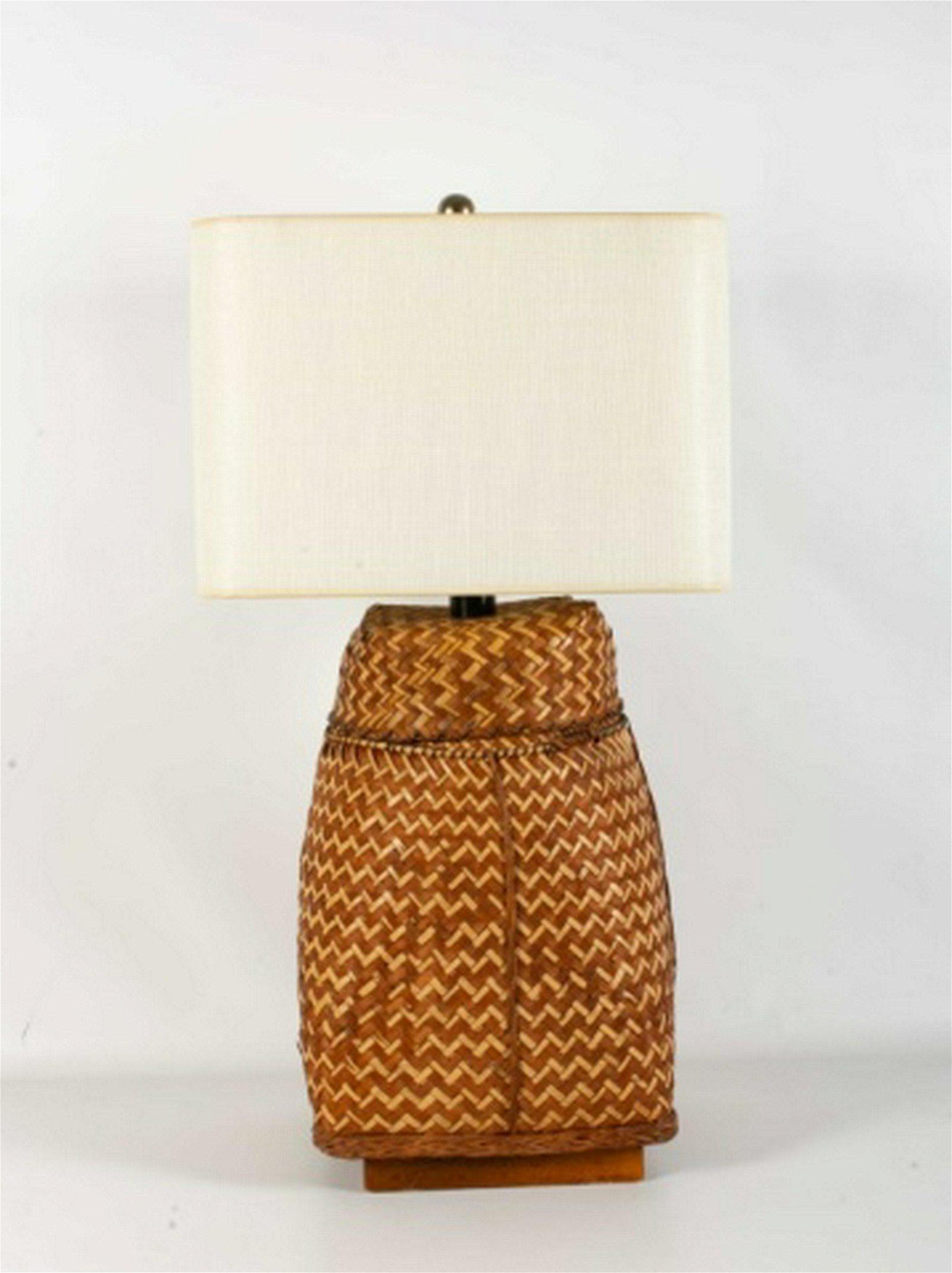 Flat Woven Basket Lamp