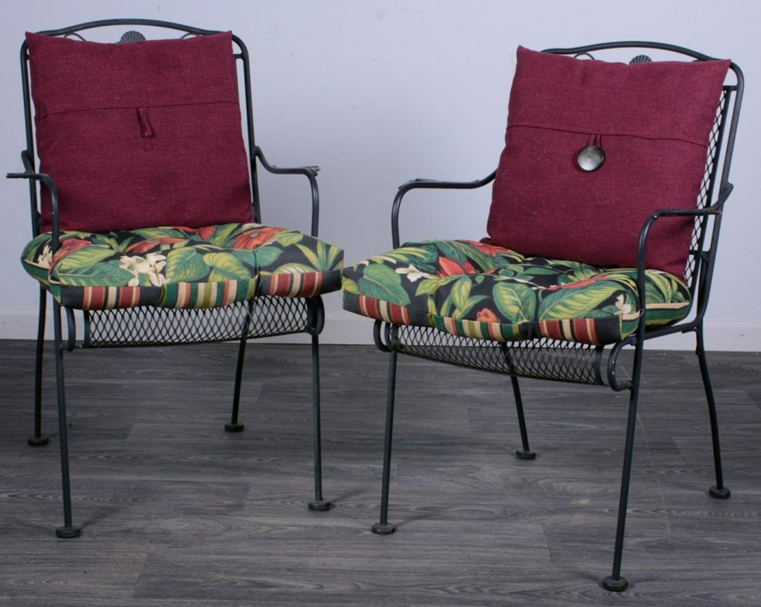 Wrought Iron Patio Chairs Pair