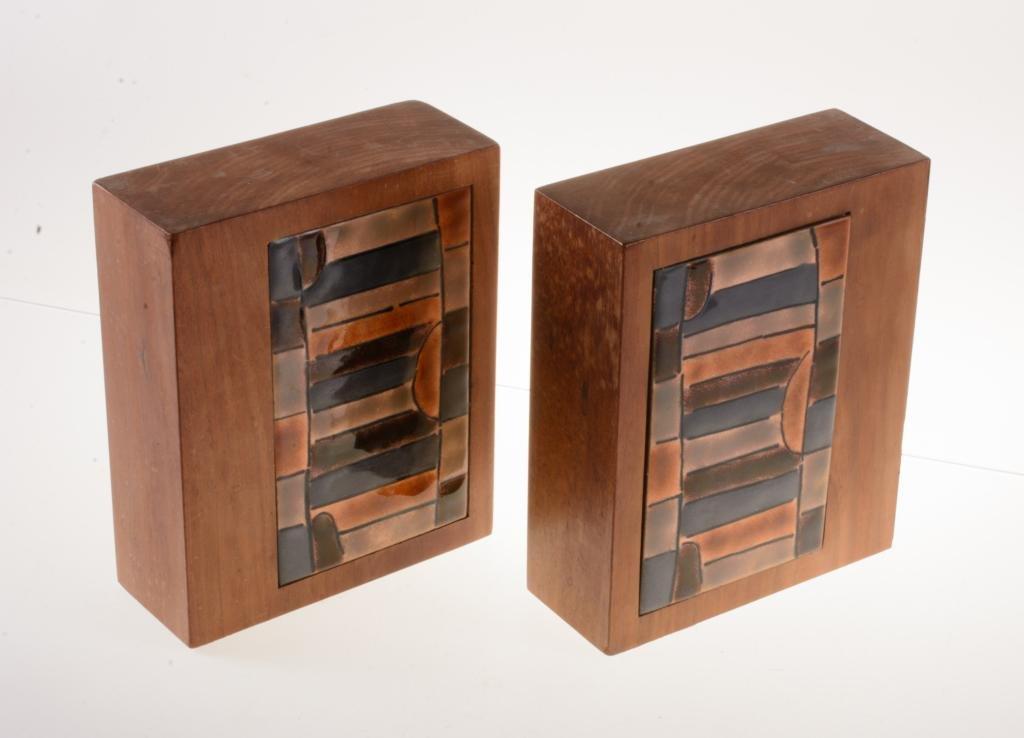 Mid Century Walnut & Tile Bookends