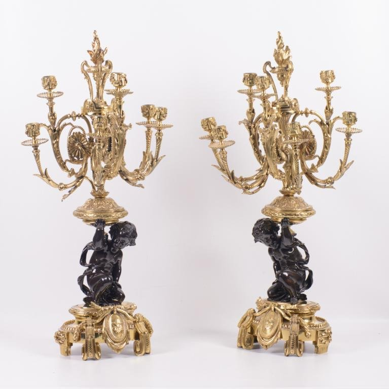 French Gilt Bronze Candelabra Pair, 19th C