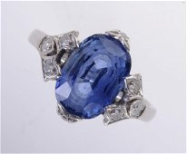Platinum & No Heat 5.21 ct Sapphire Art Deco Ring