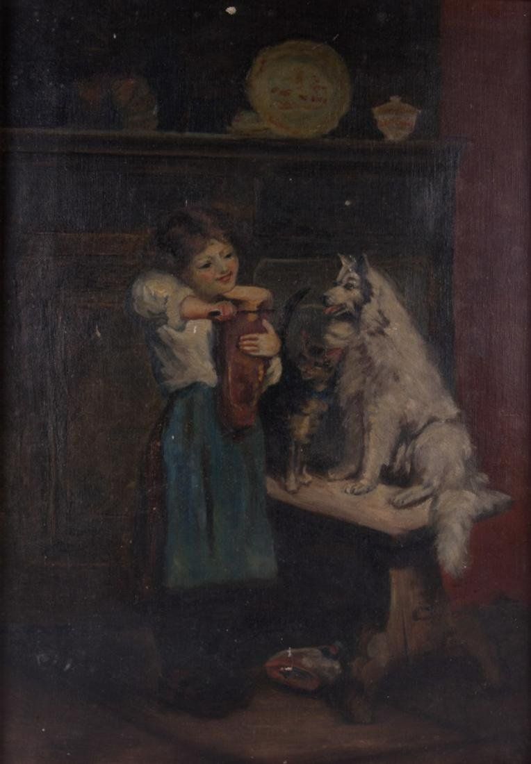 19th C Oil on Canvas Genre Painting