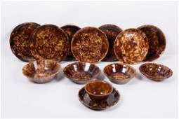 Brown Spongeware Plate and Bowl Group 13 Pieces
