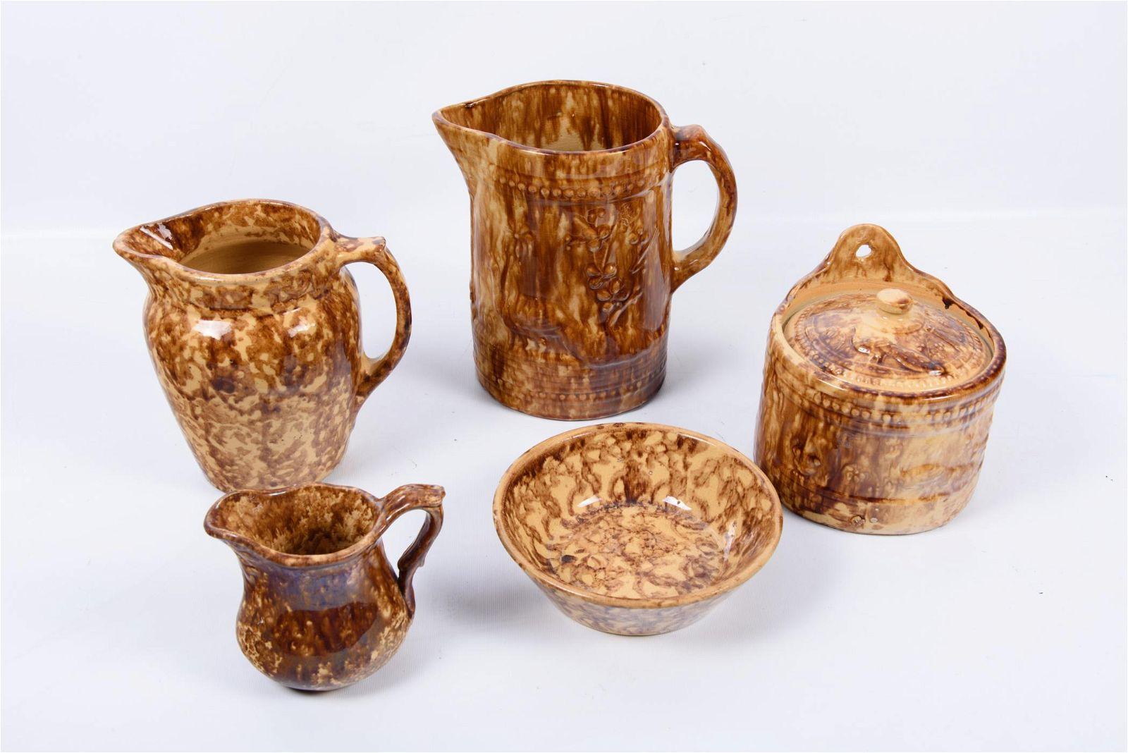 Brown Spongeware Group 5 Pieces
