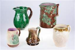 Majolica Style Pitchers 5 Pieces