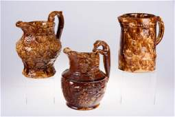 Brown Spongeware Pitcher Group 3 Pieces