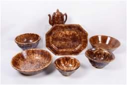 Brown Spongeware Serving Group 7 Pieces