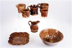 Brown and Yellow Spongeware Pottery Group 8 Pieces