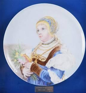 Framed Porcelain Charger of Woman