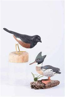 Pair of Hand Carved Artist Signed Birds