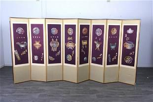 Eight Fold Asian Folding Floor Screen