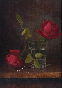 Oil on Canvas Still Life with Red Roses