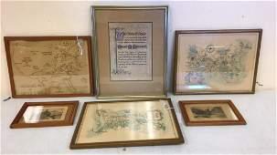 Framed maps and Castle Prints