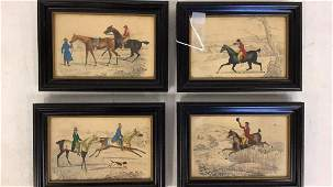 Four Identically Framed Equestrian Prints