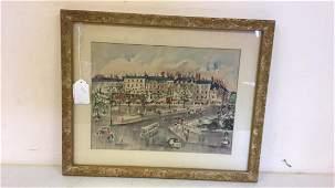 Framed City Scene Watercolor Print