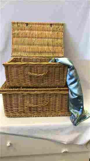 Two Wicker Baskets & Silk Fabric