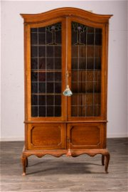 L-19th-C English Arts and Crafts China Cabinet