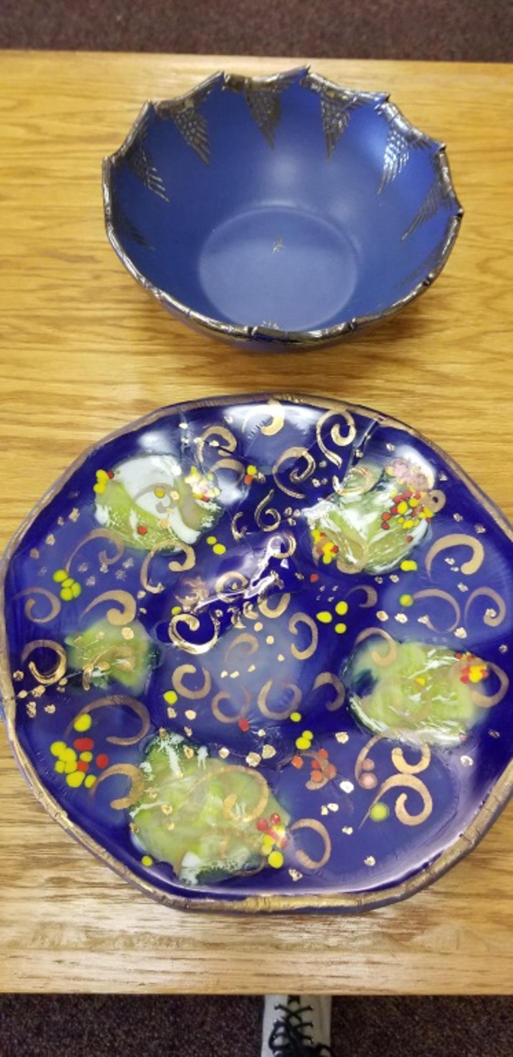 Silver Overlay Pottery Bowl and Art Glass