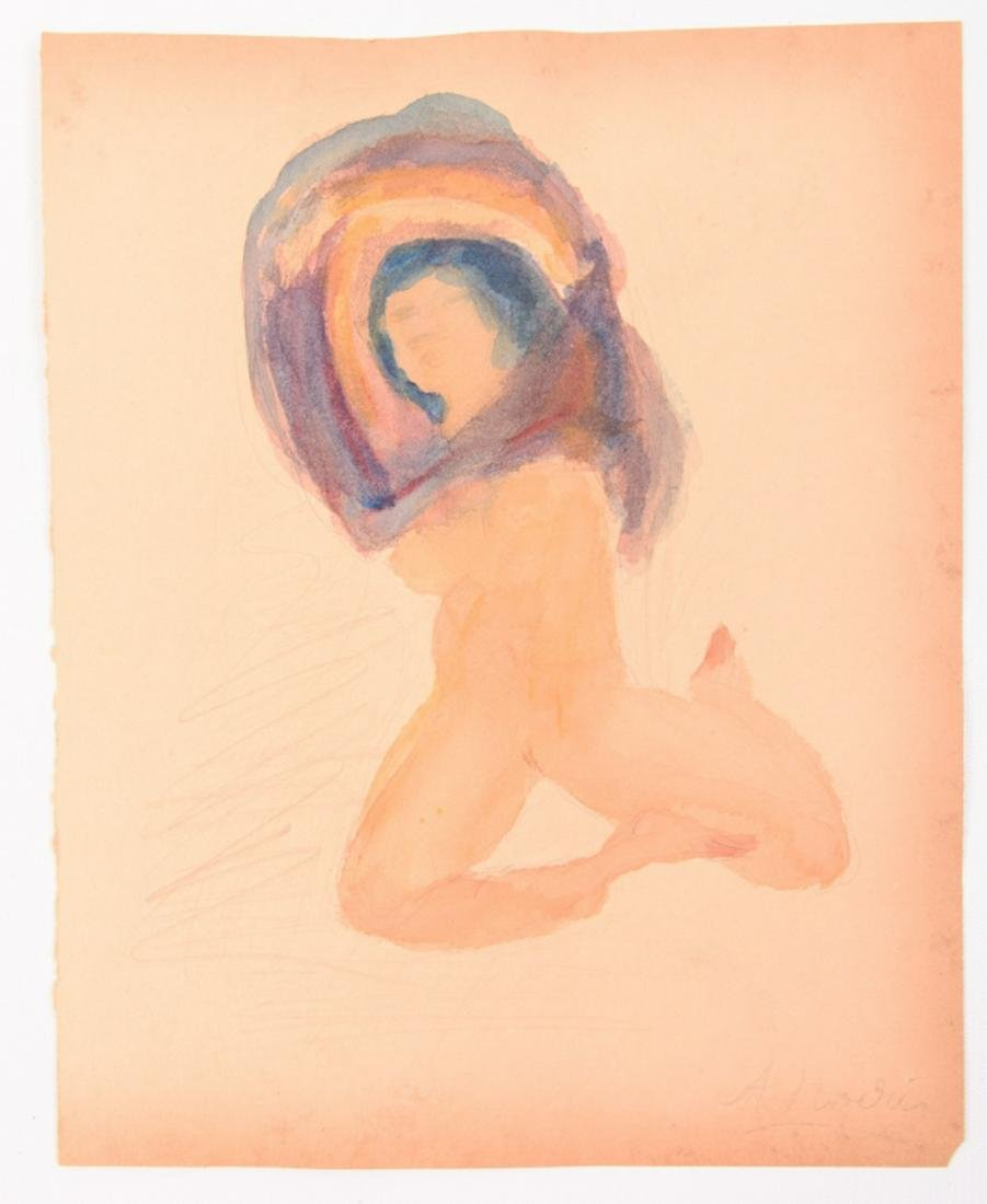 Watercolor and Pencil Drawing Signed A. Rodin