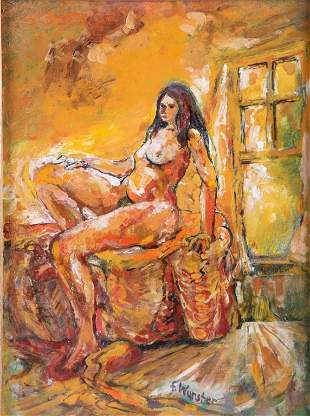 Franklin Wurster Nude Oil on Board Painting
